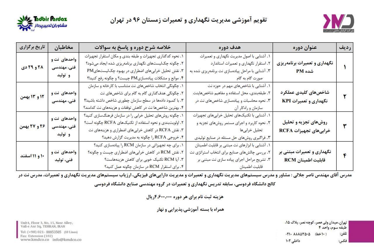 کلاس آموزش مدیریت نگهداری و تعمیرات در تهران زمستان 96
